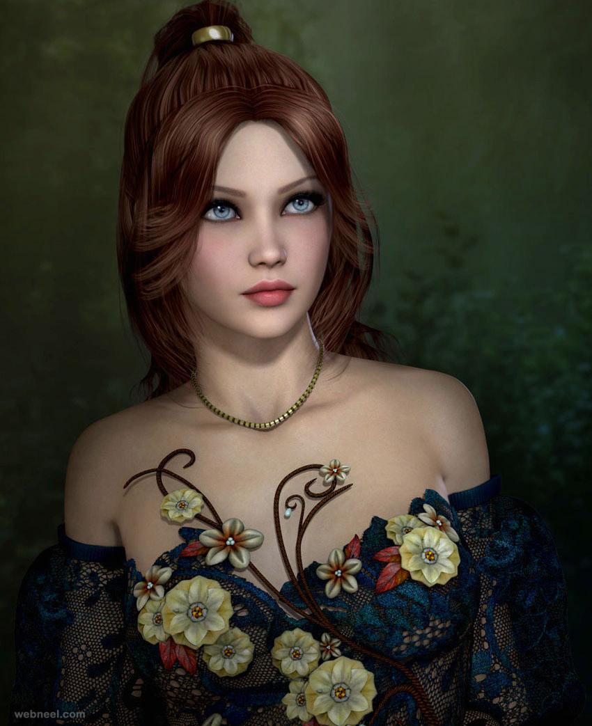 3d girl woman model anson
