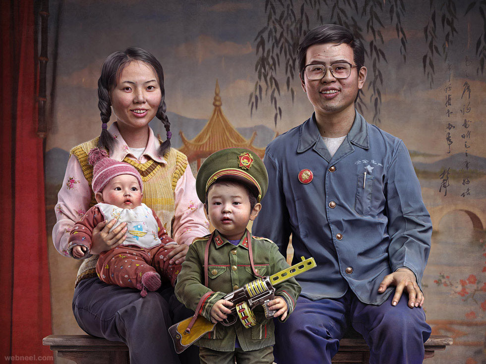 chinese family 3d character by yuzijiang