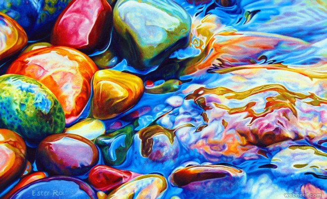 colorful river pebbles painting by ester roi