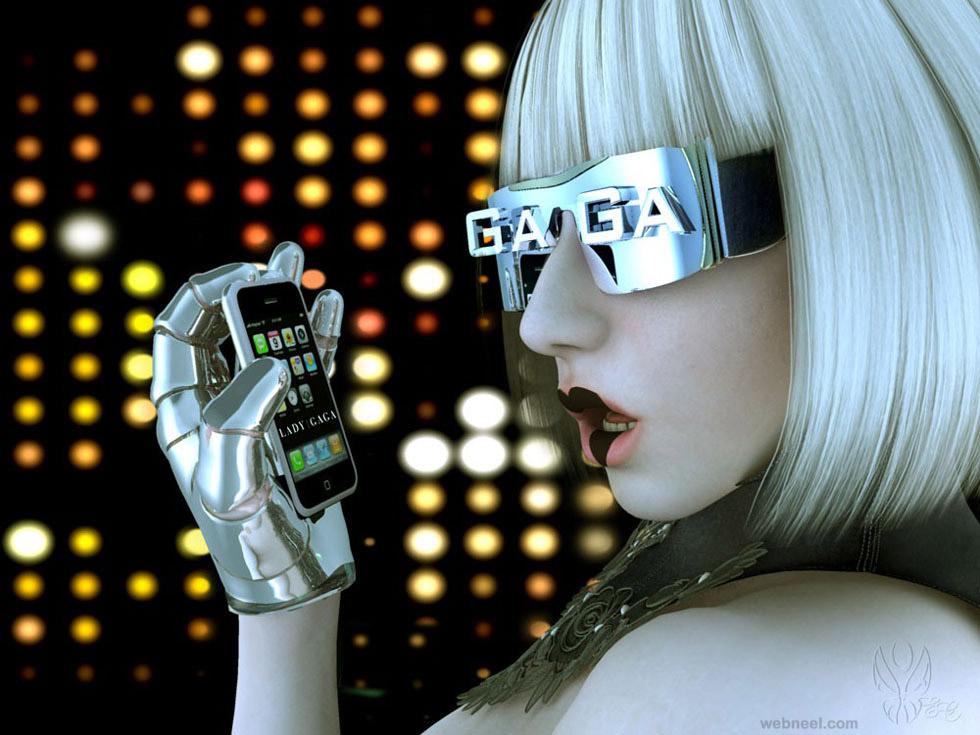 lady gaga robot sci fi cg character by eliane