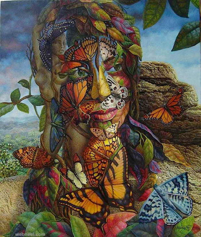 butterfly surreal artworks by ignacio nazabal