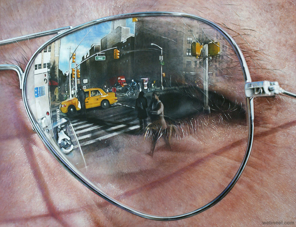 realistic sun glass painting by simon hennessey