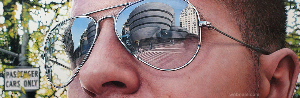 hyper realistic sun glass acrylic painting by simon hennessey