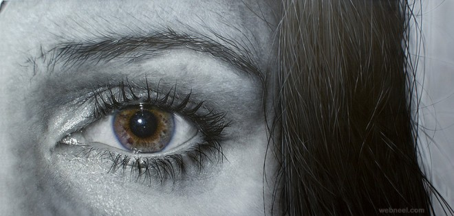 realistic black and white eye painting by simon hennessey