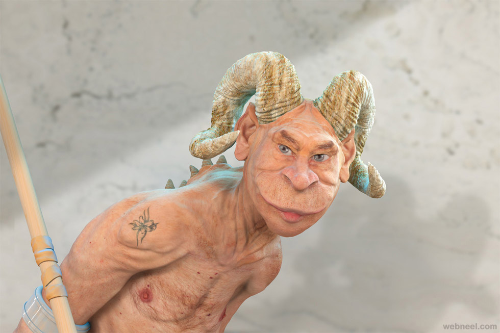 funny zbrush character design by marcel