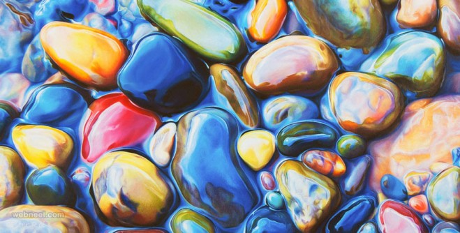 hyper realistic pebbles painting by ester roi
