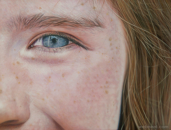 realistic face acrylic painting by simon hennessey