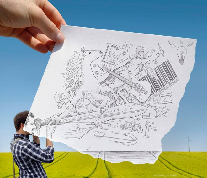 photo vs realistic drawing by ben heine