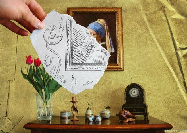 drawing versus photo by ben heine