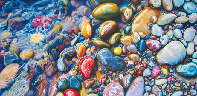 water pebbles painting by ester roi
