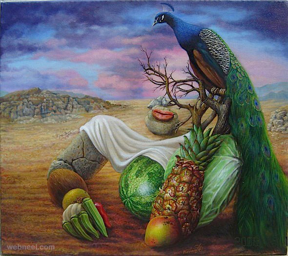 vegetable surreal paintings by ignacio nazabal