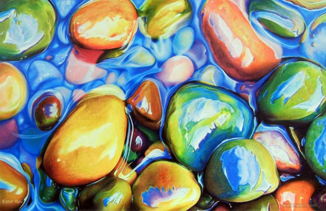 photo realistic water pebbles painting by ester roi