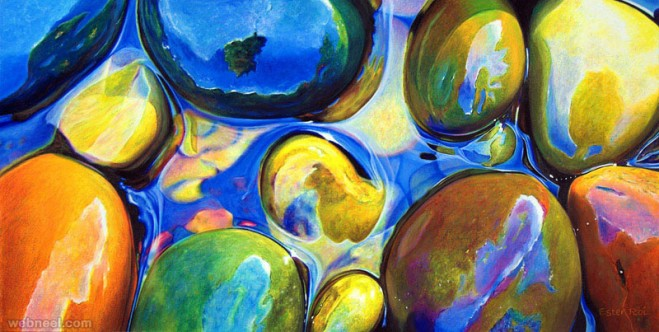 realism pebbles water painting by ester roi