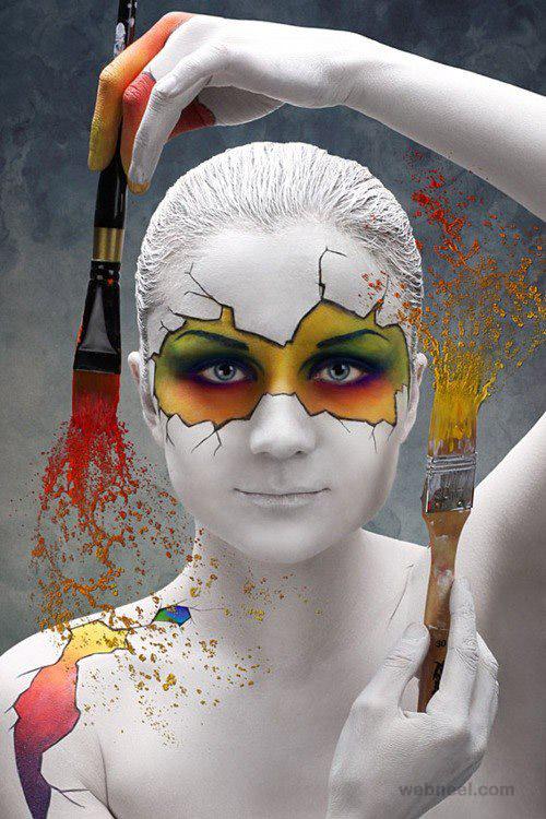woman painter creative photo manipulation