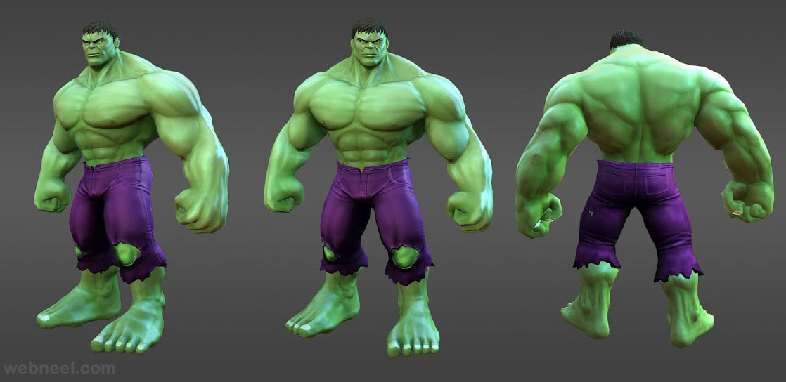 3d marvel heroes hulk model