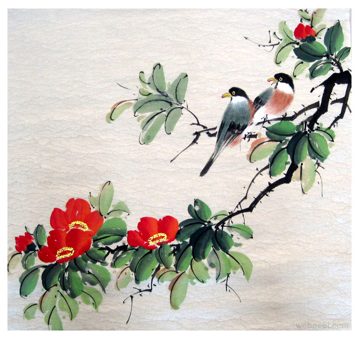 chinese painting bird