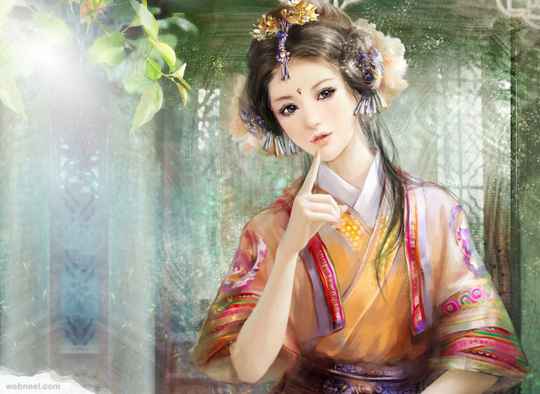 chinese art painting girl