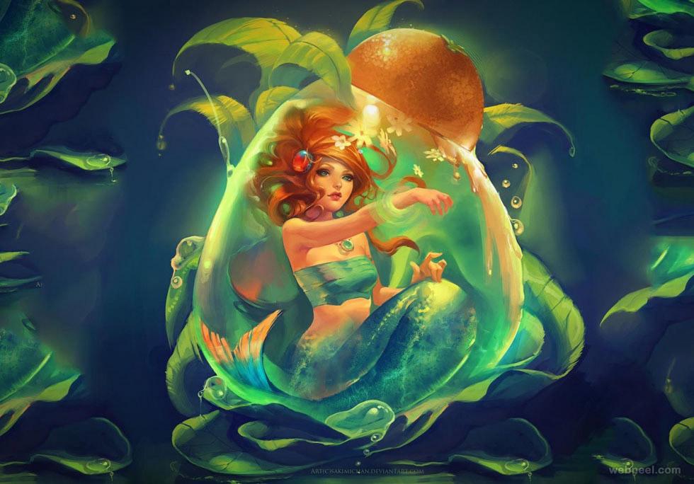 underwater paintings by sakimichan