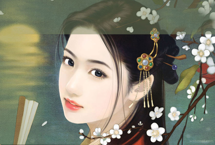 chinese art painting girl ancient