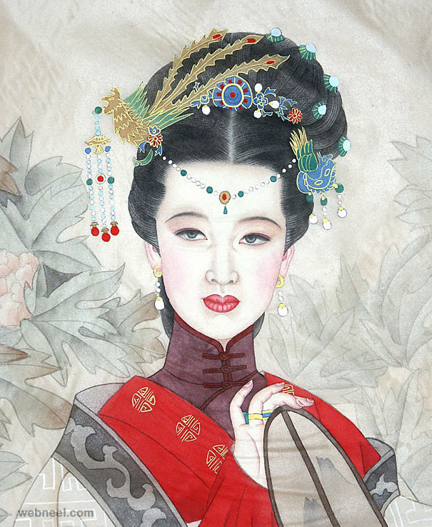 chinese painting silk girl old