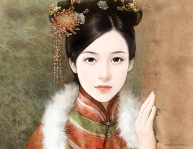 chinese painting girl beauty