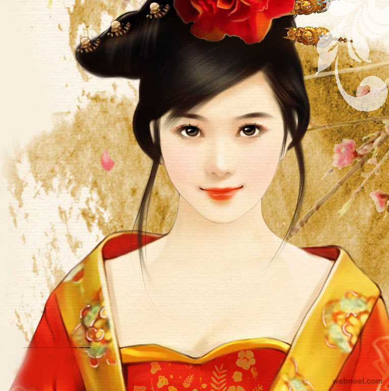 chinese painting girl woman