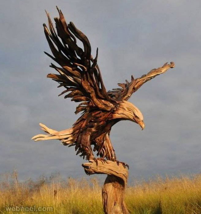 eagle driftwood sculpture by jeffro