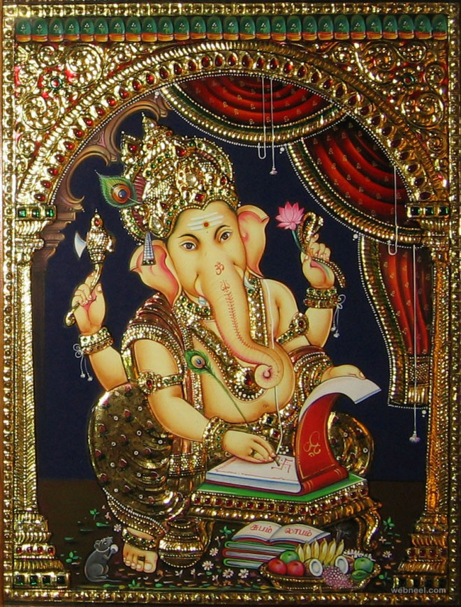 ganesha tanjore painting by narasimha associates