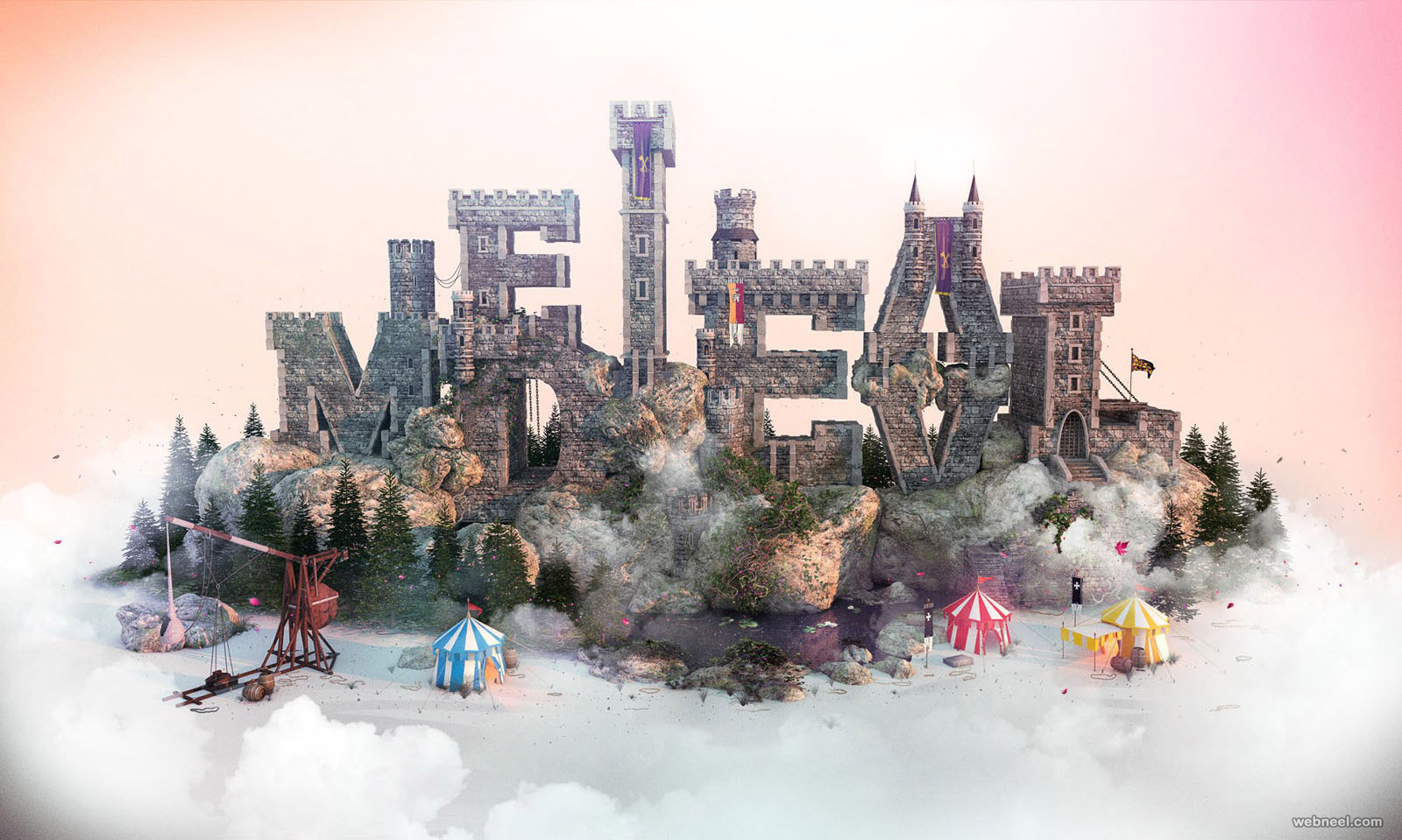 3d typography design castle