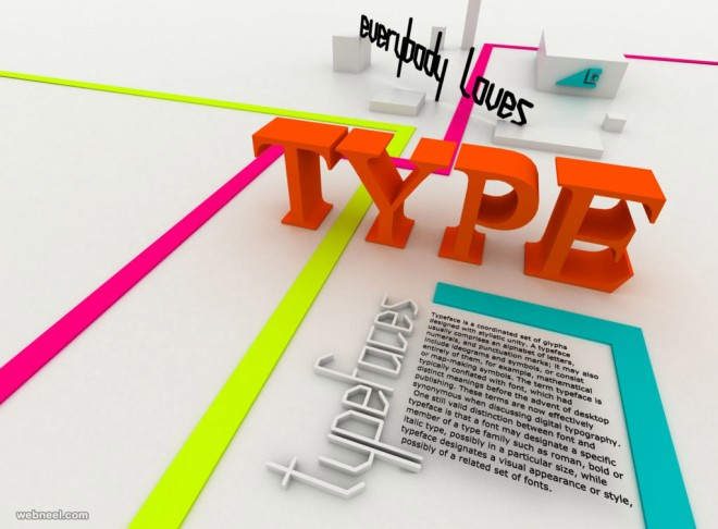 3d typography design by luybax