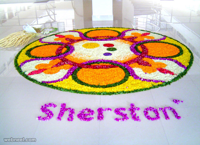 onam pookalam design colorful sherston