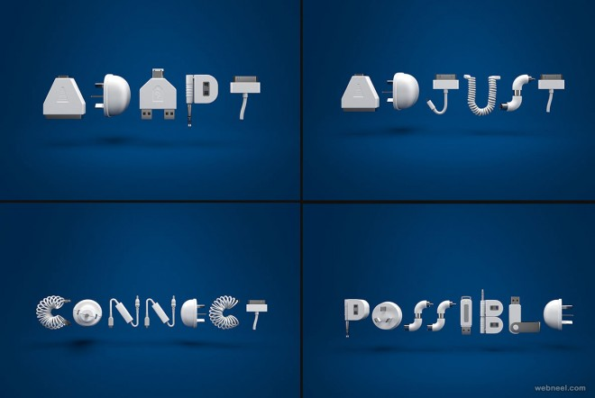 3d typography design by fraser shiers