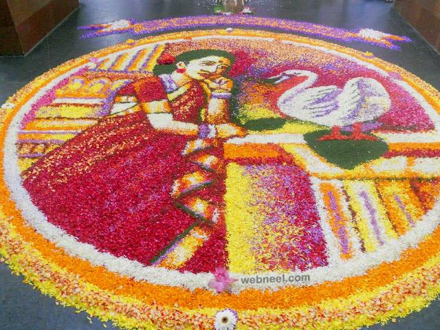 pookalam art ravi varma painting