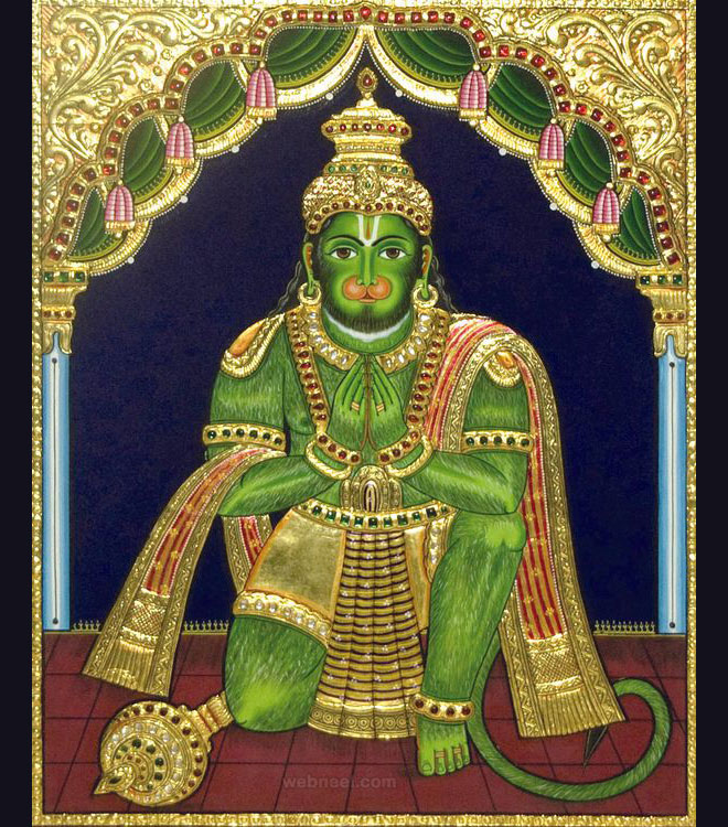 tanjore painting hanuman by latha arts