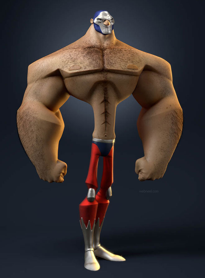 3d cartoon bodybuilder funny man by vincentdromart