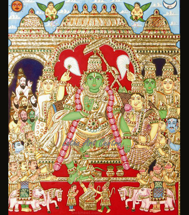tanjore painting goddess by latha arts