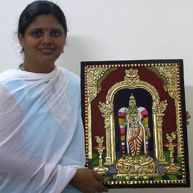 tanjore painting meenatchi by swarna