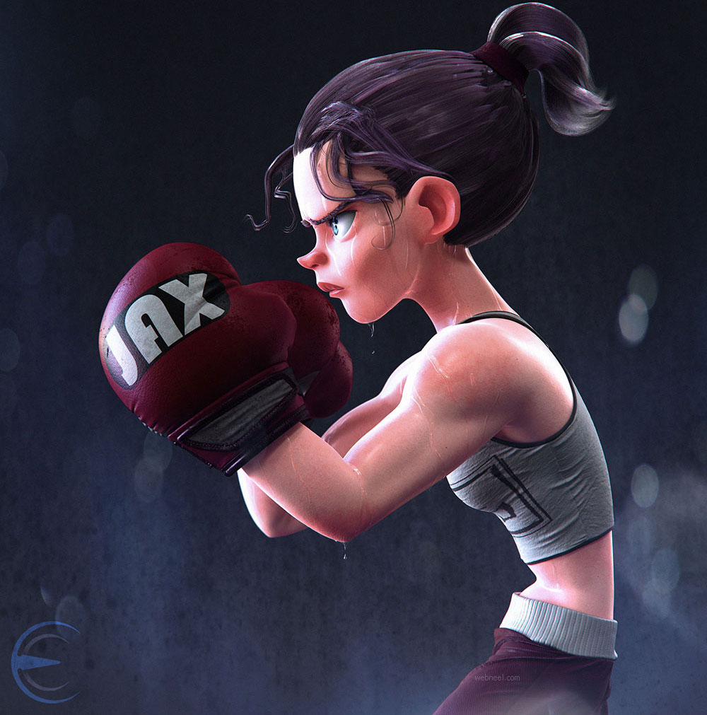 3d model cartoon girl boxer by erickcazares