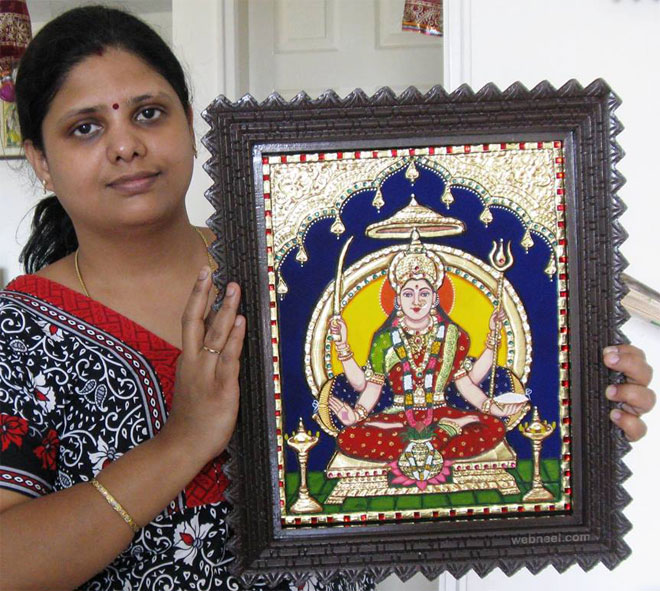tanjore painting santoshi by swarna