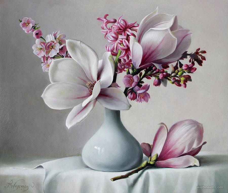flower painting magnolia by pieterwagemansa