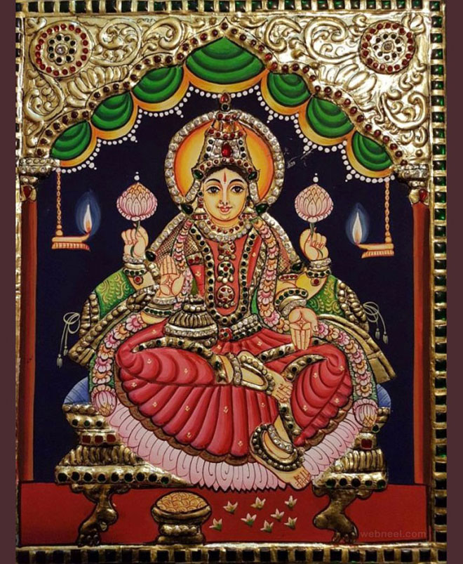 tanjore painting goddess by premalatha