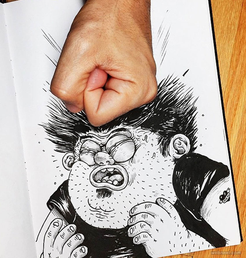 funny drawings hit by alexsolis