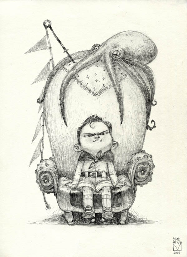 funny pencil drawing octopus throne by blad moran