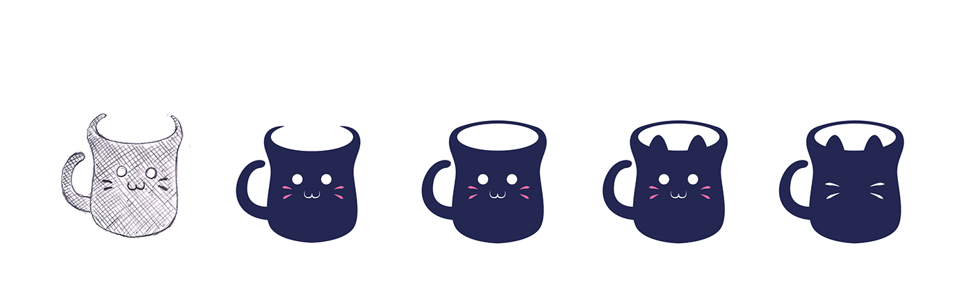 logo design cat coffee