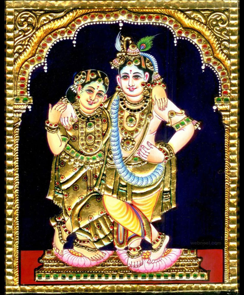 tanjore painting radha krishna by kanimozhi