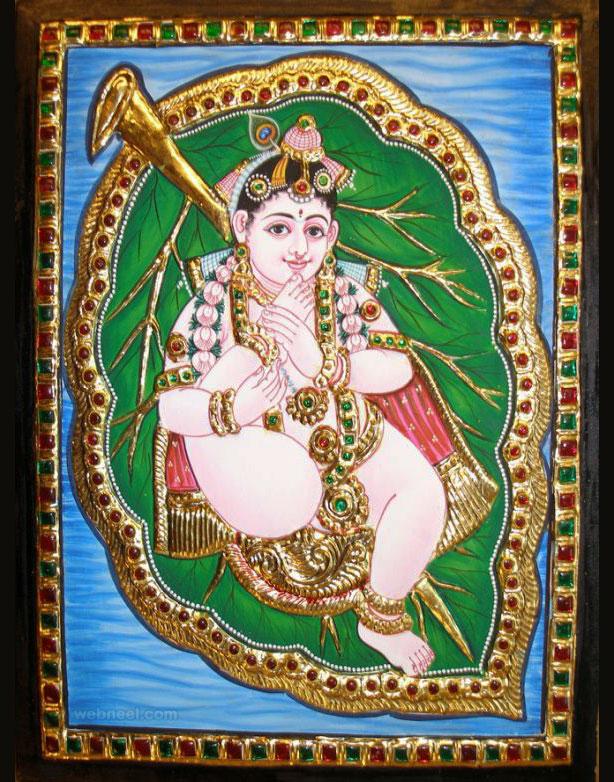 tanjore painting krishna by balaji art gallery