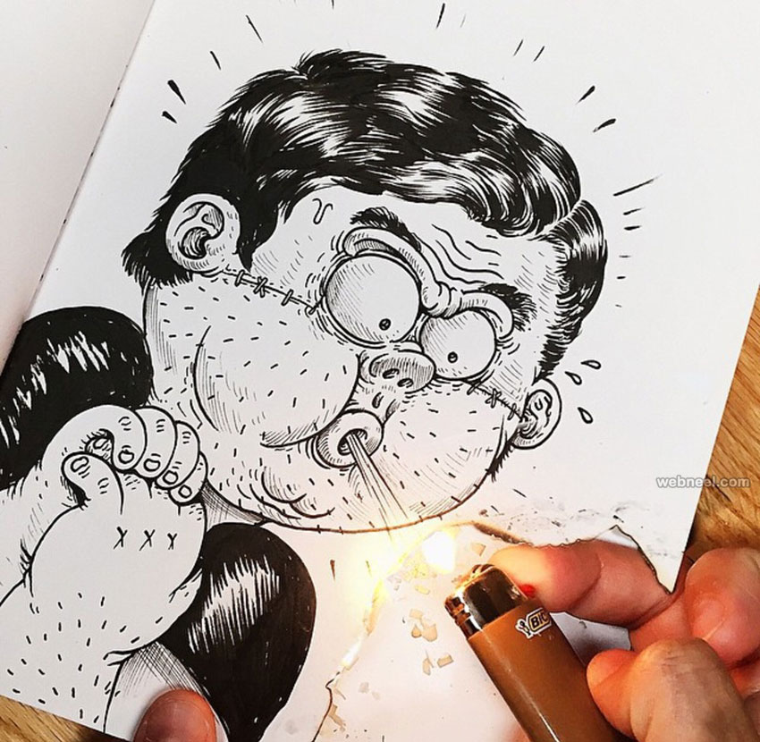 funny drawing idea lighter by alexsolis