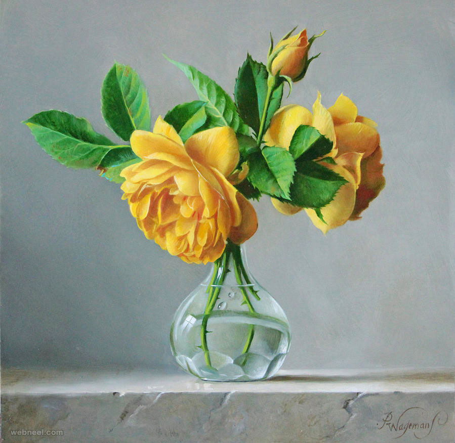 yellow rose painting flower by pieterwagemansa