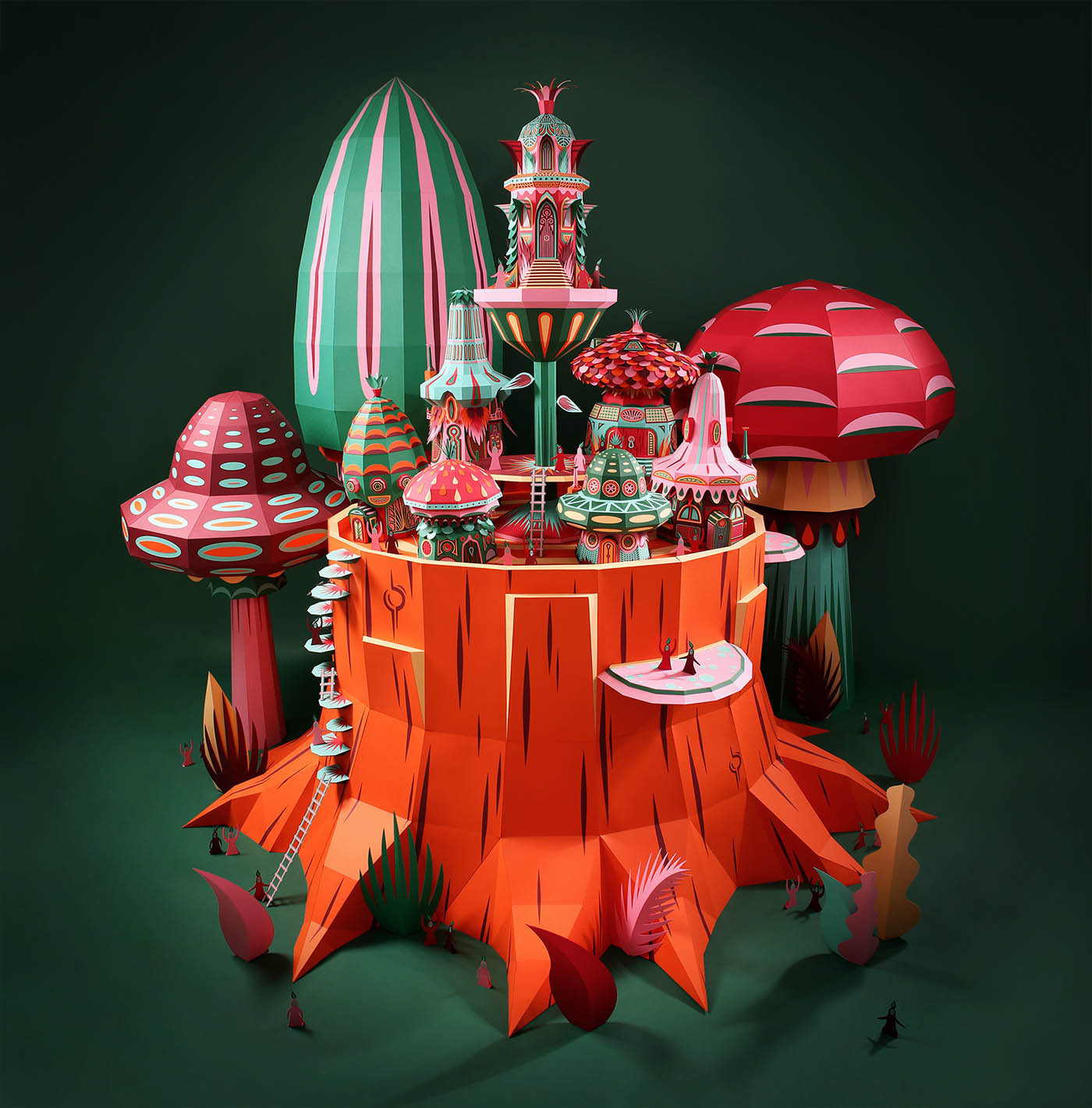 paper sculpture tiny world by zim zou