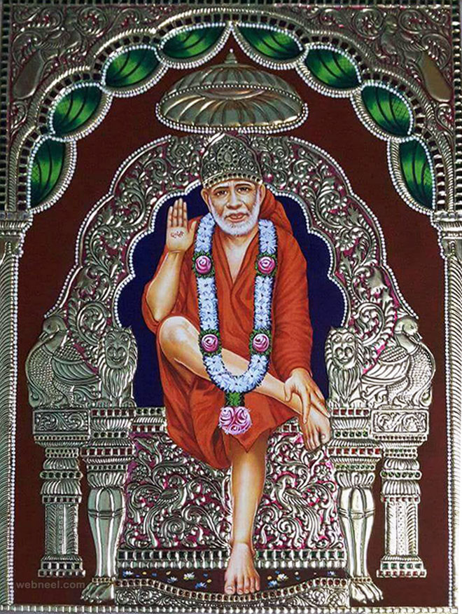 silver tanjore painting sai baba by jayabharathi